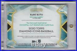 2020 Diamond Icons BABE RUTH Cut, Inscribed Auto 1/1 HOLY GRAIL New York Yankees