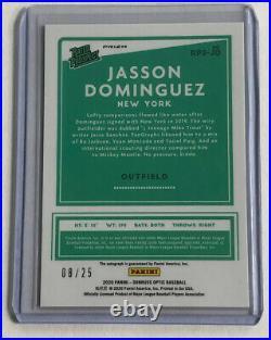 2020 Donruss Optic Jasson Dominguez Auto /25 Black Cracked Ice Prospect On Card