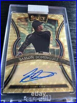 2020 Jasson Dominguez Auto Panini Select Gold Vinyl Card 1/1 Gem Mint NY Yankees