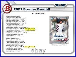 2021 Bowman Baseball Hobby Box FACTORY SEALED Free Shipping