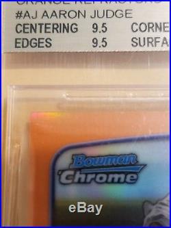 Aaron Judge 2013 Bowman Chrome Draft Orange Refractor Auto 10/25 Bgs 9.5/10