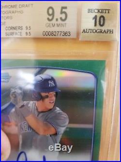 Aaron Judge 2013 Bowman Chrome Green Refractor Auto /75 Yankees Rookie Card