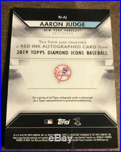 Aaron Judge 2019 Diamond Icons Red Ink On Card Auto #23/25 Ny Yankees