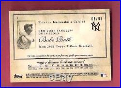 BABE RUTH 3 GAME USED JERSEY & BAT CARD #d99 2009 TOPPS TRIBUTE NEW YORK YANKEES