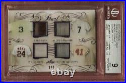BABE RUTH BAT BARREL MICKEY MANTLE WILLIE MAYS MATTHEWS JERSEY CARD BGS 9 #d1/3