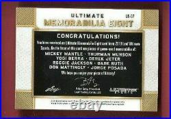 BABE RUTH BAT MICKEY MANTLE DEREK JETER DON MATTINGLY JERSEY CARD #d2/5 1 OF 1