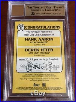 BGS 9.5 2017 Topps Heritage Real One Dual 10 Auto Hank Aaron Derek Jeter 5/5