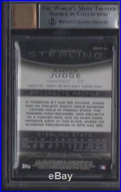 BGS 9 with9.5 AUTO 10 AARON JUDGE 2013 Bowman Sterling Prospects Autograph RC MINT