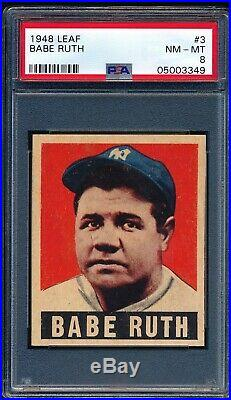 Babe 1948 Leaf Yankees Baseball Card #3 Psa 8 Centered