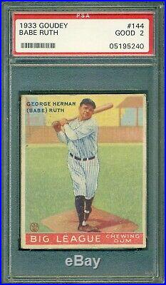 Babe Ruth 1933 Goudey #144 PSA 2 The Great Bambino Very Nice Eye Appeal