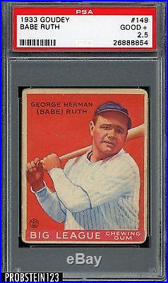 Babe Ruth 1933 Goudey #149 New York Yankees HOF PSA 2.5 GOOD+