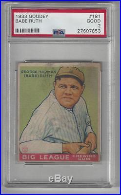 Babe Ruth 1933 Goudey Gum Baseball Card #181 HOF GOAT New Label PSA 2
