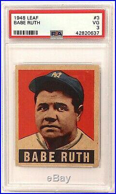 Babe Ruth 1948 Leaf #3 Vintage Baseball Card New York Yankees Graded PSA 3 VG