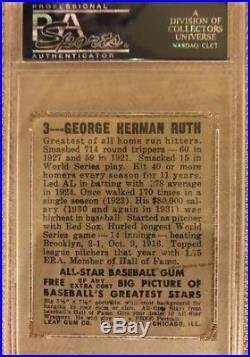 Babe Ruth 1948 Leaf Baseball #3 New York Yankees PSA 1
