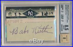 Babe Ruth 2008 Sp Legendary Cuts Signatures Autograph Yankees Cut Auto Sp #2/8