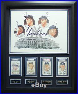 Babe Ruth, Lou Gehrig, Joe DiMaggio & Mickey Mantle Signed NY Yankees Display
