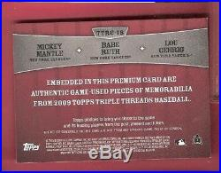 Babe Ruth Lou Gehrig Mickey Mantle 3 Game Used Jersey Card Topps Threads Yankees