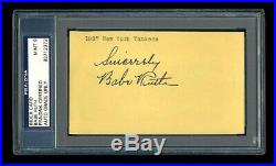 Babe Ruth Mint Signed Index Card Psa/dna Autographed 1927 New York Yankees