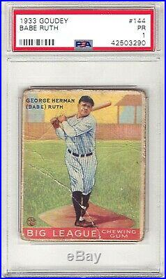 Babe Ruth New York Yankees 1933 Goudey Card #144 PSA PR 1