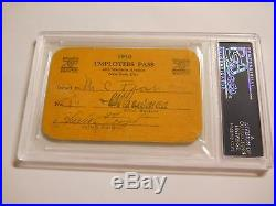 Babe Ruth Signed 1930 Cbs Employees Pass Psa/dna Auto Ny Yankees Rico Petrocelli