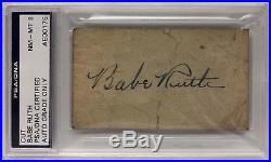 Babe Ruth Signed 3.5x2 Cut Yankees Baseball PSA/DNA Graded Auto NM-MT 8