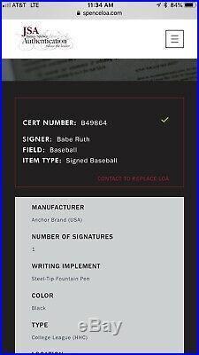 Babe Ruth Single Signed Autographed Baseball JSA No. B489864/ W554 Card/ 14 Bat