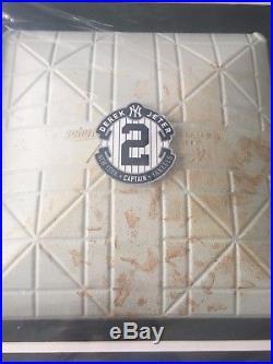 DEREK JETER GAME USED FINAL SEASON 2014 YANKEE STADIUM BASE 20x24 FRAMED COLLAGE