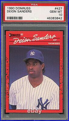Deion Sanders Yankees 1990 Donruss Baseball Rookie Card #427 PSA 10 GEM MINT