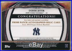 Derek Jeter 1/1 Auto Game Used Jersey Majestic Patch Yankees 2018 Topps Tribute