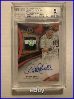 Derek Jeter 2018 Topps Tribute Red Patch Auto #10/10 1/1 NY Yankees SP BGS 9/10