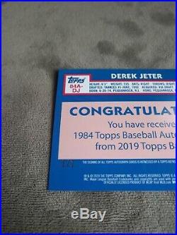 Derek Jeter Auto platinum 1/1 2019 Topps Series 1 1984 Parallel