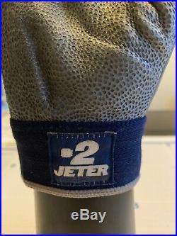 Derek Jeter Game Used Batting Glove Steiner COA 2012 Single Grey With Blue Trim