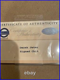 Derek Jeter NY Yankees #2 Signed Autographed Steiner Sports COA In Picture Frame
