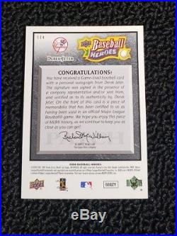 Derek Jeter Patch Auto #4/10 08 Upper Deck Heroes NY Yankees Autograph HOF RARE