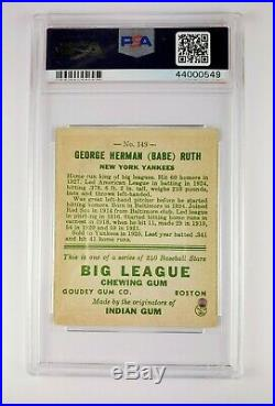 Excellent looking 1933 Goudey Psa 1 Babe Ruth red Baseball Card