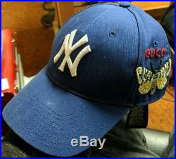 GUCCI Gucci New York Yankees Baseball Cap Canvas Blue Hat (CR)