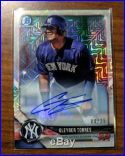 Gleyber Torres 2018 Bowman Chrome Mega Mojo Refractor RC Auto /25. Yankees! RARE