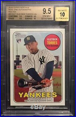 Gleyber Torres 2018 Topps Heritage Real One Red Ink Auto RC /69 BGS 9.5/10 Gem