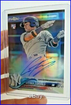 Gleyber Torres Auto Rc 2018 Topps Chrome Refractor /499 Autograph Sp Rookie Nr