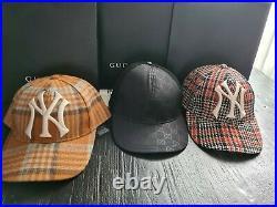 Gucci Men's NY Yankees Wheat Tangerine Plaid Cap, Size 57-61cm snapback