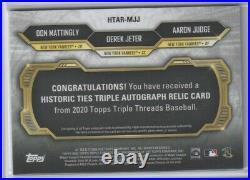 Jeter/judge/mattingly 2020 Triple Threads Historic Ties Auto Relic /9 1/1
