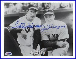 Joe dimaggio & ted williams autograph photo psa/dna