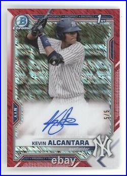 Kevin Alcantara 2021 Bowman Chrome Red Shimmer Rookie Auto Rc Yankees 5/5