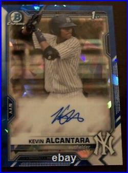 Kevin Alcantara 2021 Bowman Sapphire Chrome Auto 1st Prospect New York Yankees