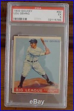LOU GEHRIG, 1933 Goudey, ROOKIE, #92, PSA 5, NY Yankees
