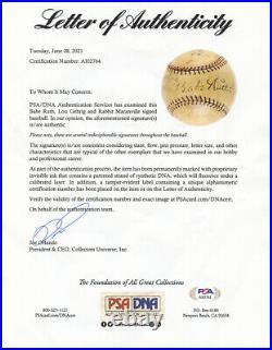 L@@K Babe Ruth Lou Gehrig Signed Autographed OAL Harridge Baseball PSA/DNA