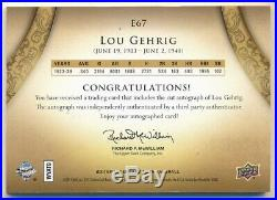 Lou Gehrig 2011 Sp Legendary Cuts Exquisite Yankees Autograph Cut Auto #3/4
