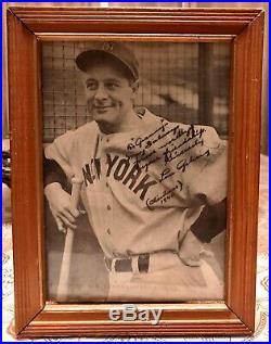 Lou Gehrig Single Signed Baseball JSA with framed Photo And Souvenir Baseball Bat