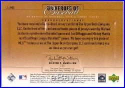 MICHAEL JORDAN JOE DIMAGGIO MICKEY MANTLE 2001 UD Heroes Game Used Jersey Trios