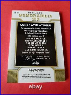 MICKEY MANTLE DEREK JETER YOGI BERRA REGGIE JACKSON MUNSON JERSEY CARD #d12 LEAF